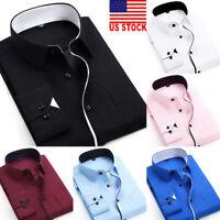 US Luxury New Fashion Mens Slim Fit Shirt Long Sleeve Dress Shirts Casual Shirts