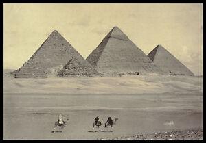 PH13 Vintage 1800's Egypt Egyptian Gizeh Pyramids Photo Re-Print A3/A2