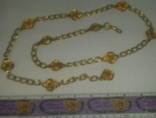 "Vintage ROSE Floral Yellow Gold Tone Hook & Chain Belt * Up To 38"" Waist * RARE"