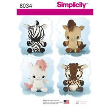 Simplicity Sewing Pattern Craft 8034 Animal Stuffies Unicorn Giraffe Pony Zebra