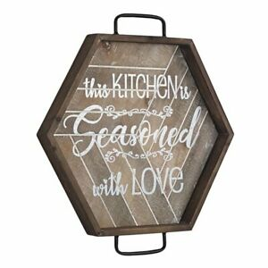 American Art Decor This Kitchen is Seasoned with Love Wood Metal Wall Sign 16x16