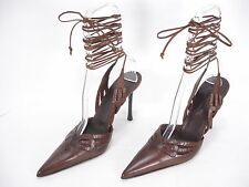 NEW CESARE PACIOTTI LEATHER POINTED TOE ANKLE SPAGHETTI STRAP SHOES WOMEN'S 40