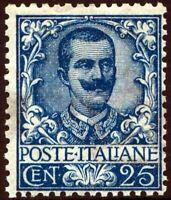 Regno - 1901 - Floreale cent.25 azzurro - gomma originale - MH - n.73 - Carraro