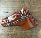 """Vintage c.1930's  Art Deco Carved Bakelite Horse Head Pin Brooch 3 1/3"""""""