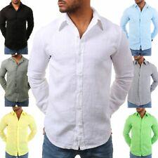 Young Rich Herren Männer Leinen Hemd tailliert körperbetont langarm 100% Leinen