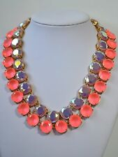 J. Crew Hot Pink Lavender Purple Crystal Double Strand Statement Necklace