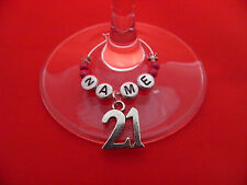Personalised 21st Birthday Wine Glass Charm with Name in a Gift Card - FREE P&P
