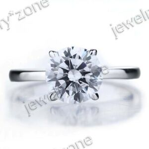 Shining Lady Jewelry Solid 14K White Gold Cubic Zirconia 3.6ct Wedding Part Ring