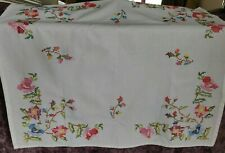 Small Hand Embroidered Cross Stitch Cotton Tablecloth - Flower Design