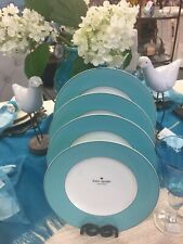"""NWT Set Of (4) Kate Spade RUTHERFORD CIRCLE 11.5"""" Dinner Plates, Turquoise"""