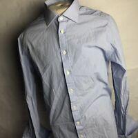 "Charles Tyrwhitt Mens Blue Striped Long Sleeve Button Front Slim Shirt 17 ""C"""