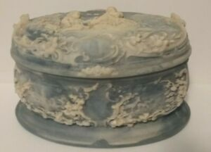 """Vintage Incolay Trinket/jewelry box. """"First Love"""" White cameo on Blue Victorian"""
