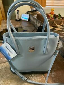 Dooney & Bourke Parasole Cornflower Sky Blue Leather Rubber Shoulder Tote New Wi