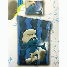 SMURFS BLUE SINGLE DUVET COVER SET CHILDRENS KIDS BOYS BEDDING