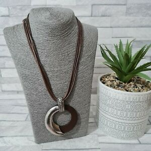 Statement Necklace Brown Multi Strand Cord Round Wood Pendant Metal Bohemian