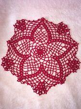 """Red Star Crocheted Doily 12"""" Diameter"""