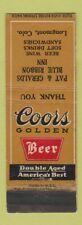 Matchbook Cover - Coors Beer Pat & Geralds Blue Ribbon Inn Longmont Colorado