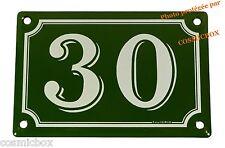 Plaque émaillée vert & blanche NUMERO de RUE 30 émail enamel plate street number