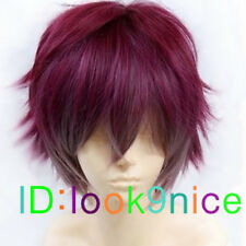 Diabolik lovers Sakamaki Ayato wine red mix short cosplay party wig/Free wig cap