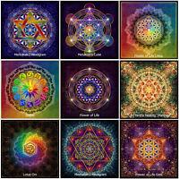 9x Blume des Lebens Sri Yantra Zodiac Lotus Om Metatron Merkabah Yoga Aufkleber