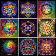10x Blume des Lebens Sri Yantra Lotus Om Metatron Zodiac Merkabah Yoga Aufkleber