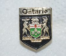 "ONTARIO COAT OF ARMS 5/8"" CANADA CREST GOLDTONE METAL LAPEL PIN"