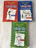 Diary of a Wimpy Kid, Rodrick Rules, and The Last Straw - 3 books by Jeff Kinney