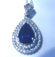 "**UK NEW**STUNNING SAPPHIRE TEAR DROP PENDANT  25 X 15MM + 20"" SILVER CHAIN"