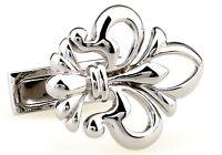 Fleur-de-lys Pair Cufflinks Silver Cut Wedding Fancy Gift Box & Polishing Cloth