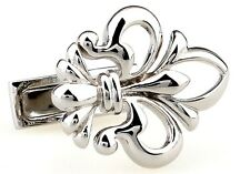 Fleur-de-lys Cufflinks Silver Cut Wedding Fancy Gift Box Free Ship USA