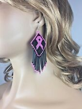 NEW BLACK PINK RIBBON BREAST CANCER AWARENESS HANDMADE BEADED EARRINGS 58/36