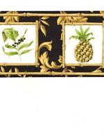 Formal Gold Scroll On Black w} Pineapple Bamboo Square Wallpaper Border AR77952