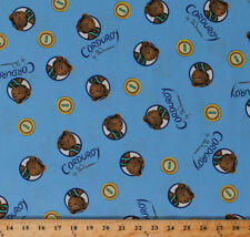 Cotton (Corduroy the Teddy Bear) Buttons Blue Cotton Fabric Print Bty D473.23