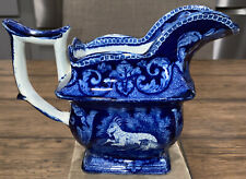 """RARE Antique Flow Blue Pitcher Small 5.25"""" Tall Billy Goat in Excellent 1800's"""