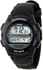 Casio Original W-756B-1A  New Digital World Time Mens Watch WR Black Cloth W-756