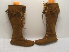 Minnetonka Moccasins Boots Boho Festival Brown Lace-up Knee High Fringe Sz 8