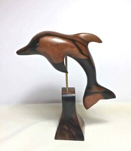 HAND CARVED WOOD Wooden DOLPHIN on Stand SCULPTURE Figurine