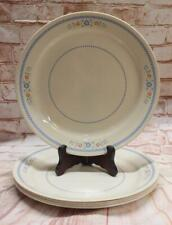 """5 Vintage Corelle NEEDLEPOINT Dinner Plates 10.25""""  Blue Check Flowers Red Rust"""
