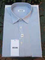 "Mens Moschino Shirt 39""/40"" Chest, Light Blue Check 14.5"" Collar Brand New Boxed"
