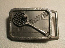 TENNIS SHOWING RACKET BALL & NET ON A COURT MENS PREOWNED METAL BHS BELT BUCKLE