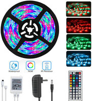 16.4Ft 5M RGB Waterproof SMD 300 LED Strip light 44Key Remote 12V Power Full Kit