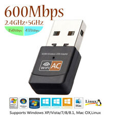 Wireless Adapter 600 Mbps Dual Band 2.4G / 5G Ricevitore WiFi USB 2.0 PC