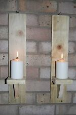 SHABBY CHIC RUSTIC PAIR OF WALL SCONCE CANDLE HOLDERS 50CM