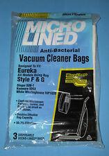 3 Micro Lined Eureka F & G Vacuum Cleaner Bags Singer Kenmore Westinghouse New