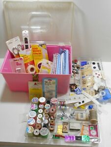 Vintage Plastic Large Pink Sewing Box With Two Trays FILLED With Notions & Tools