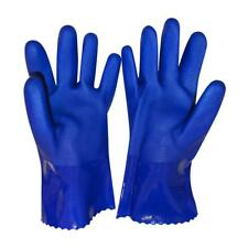 1 Pair Waterproof Gauntlet Gloves Long Heavy Duty Rubber PVC Coated 27cm Bl  New