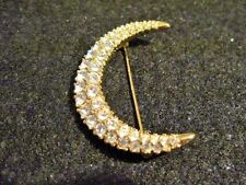 Swarovski Swan Signed Clear Rhinestone Crescent Moon Brooch Gold Tone 112