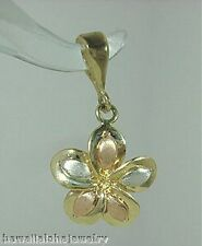 12mm Hawaiian 14k Tri-Color Gold Brushed Satin Plumeria Flower Pendant