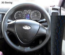 Pour Hyundai Santa Fe cuir véritable haut volant couvercle bleu stitch nouveau 01-06