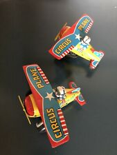 Lot Of 2 Circus Tin Toy Air Planes Japan Yone Vintage Wind Up Litho Plane